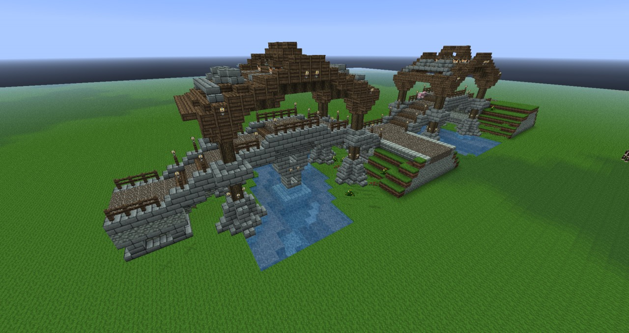 Medieval double bridge Minecraft Project
