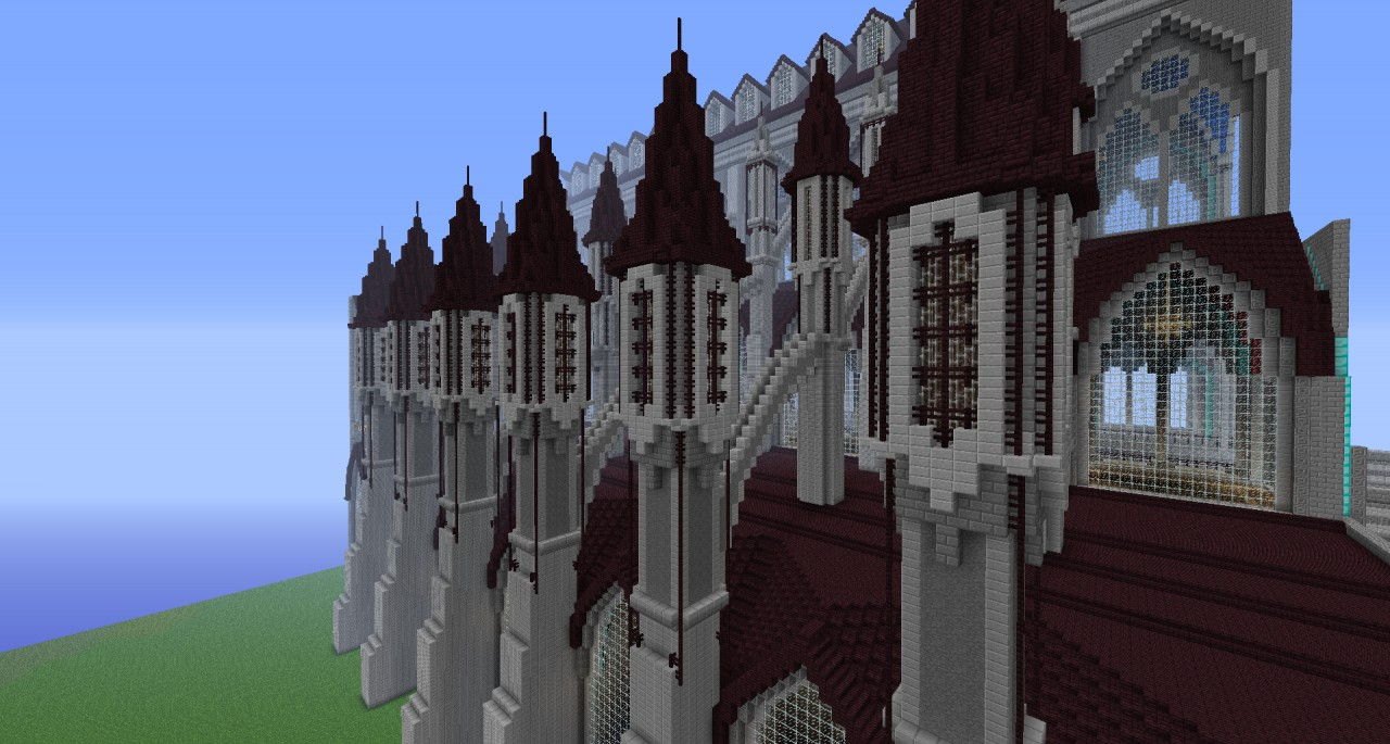 gothic cathedral and plaza minecraft project