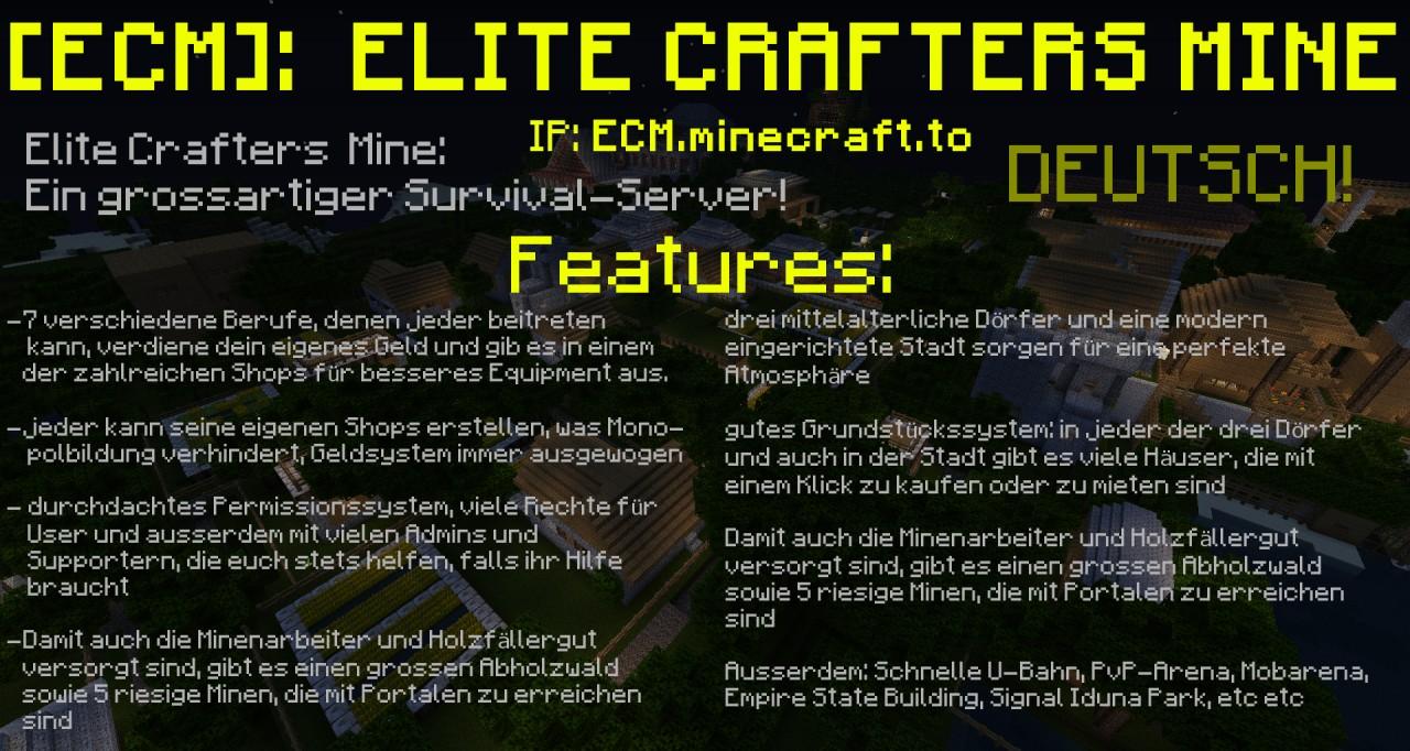 ECM Ein Großartiger SurvivalServer DEUTSCH ROLEPLAY - Minecraft server erstellen ohne geld