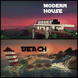 Modern House with a Nearby Beach Minecraft