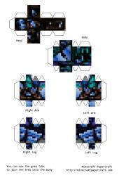 Minecraft из бумаги бумажный Minecraft ВКонтакте.  Майнкрафт из бумаги схемы стива. фразы 343 уровень.
