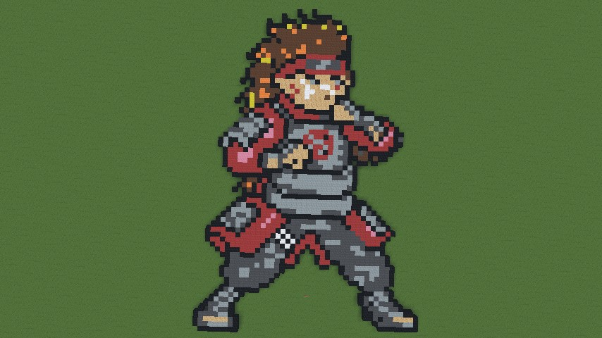 naruto characters pixel art minecraft project