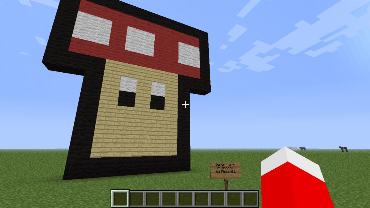 Minecraft How To Build Pixel Mario Mushroom