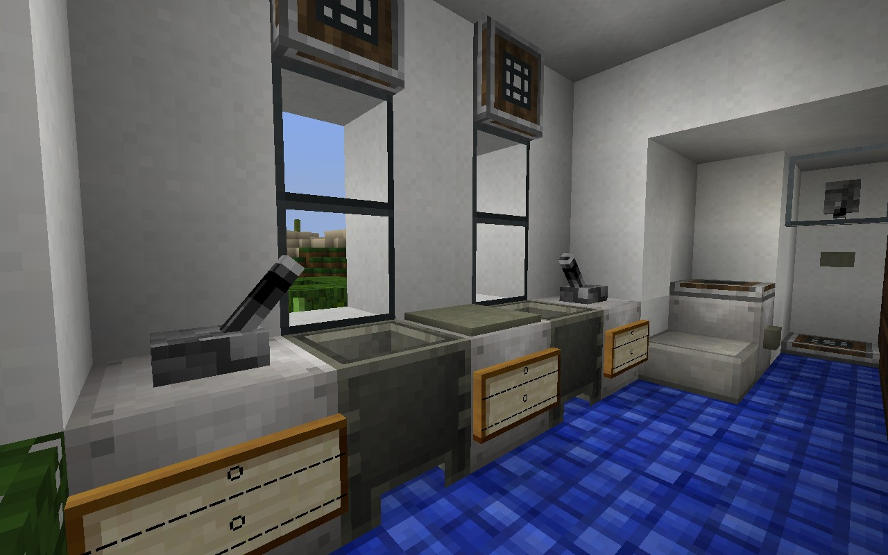 Pinewood creek residence minecraft project for Bathroom designs minecraft