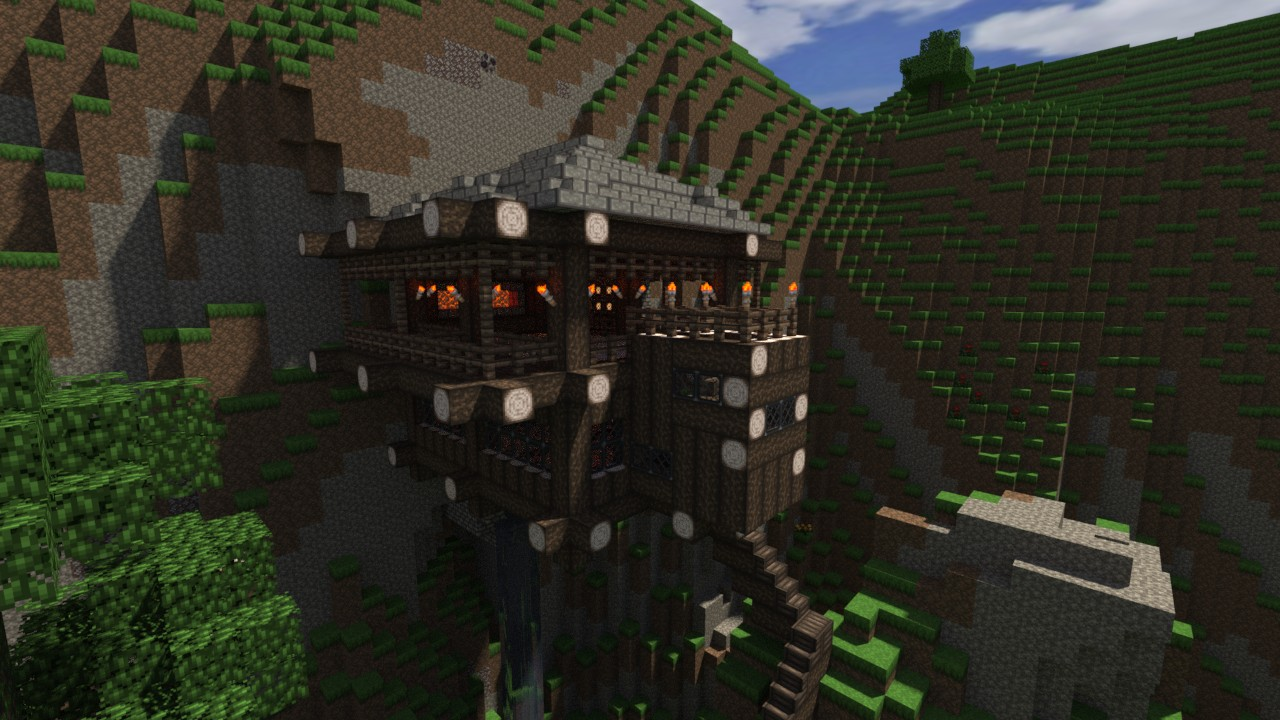 how to build a mountain side house in minecraft