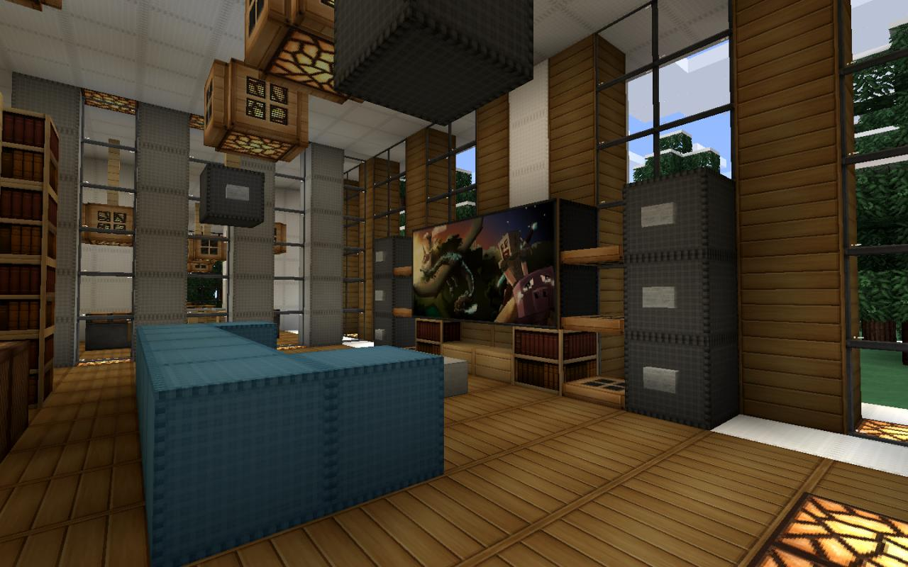 Modern house series 3 minecraft project - How to make a nice living room in minecraft ...