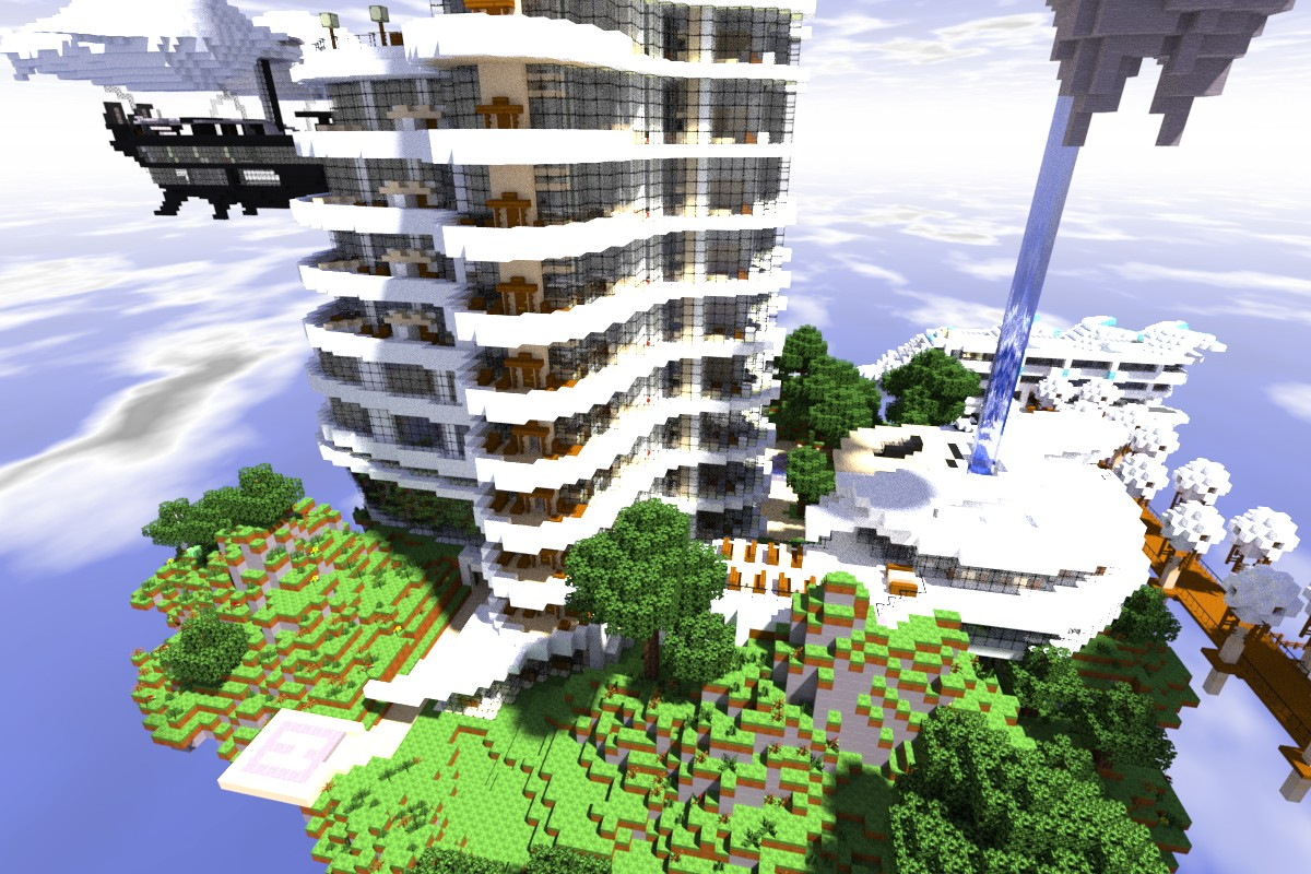The resort includes a Mall complete with villager trade floor, 2 state of the art movie theaters, and 2 five-diamond restaurants at it's base