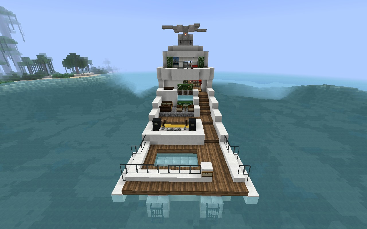 82 Block Luxury Yacht W Helicopter Minecraft Project