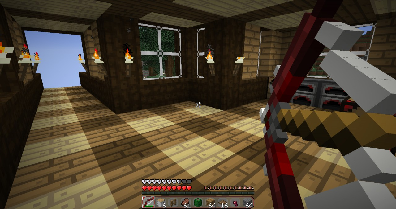 Note: older version. Inside of house showing wood and the new bows!