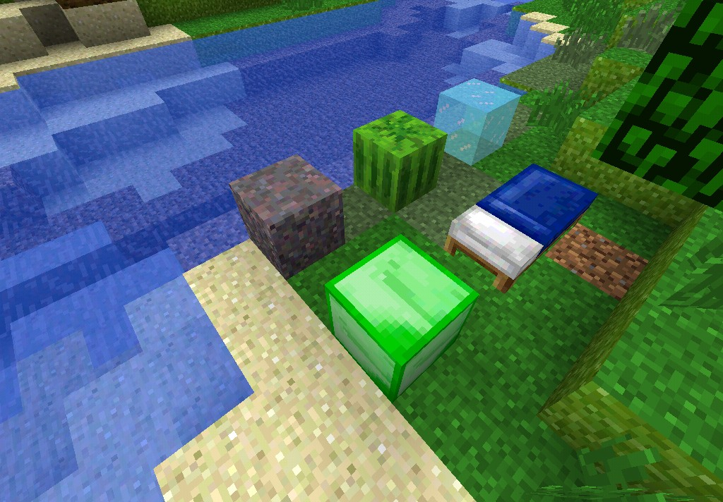 Mycelium, melon (righter green), ice (icier colour), emerald and the bed.