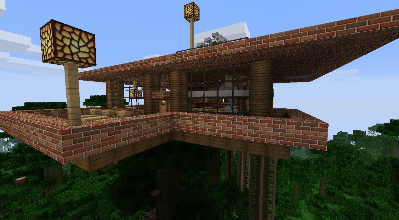 Modern jungle house with an pic view. Minecraft Project - ^