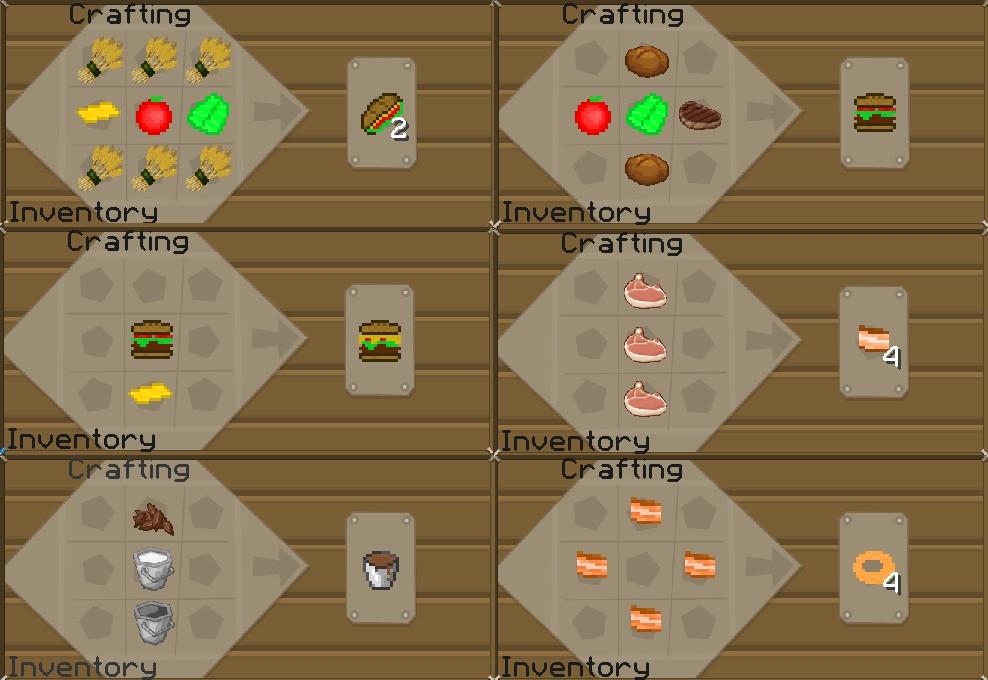 a sandwich, hamburger, bacon, and chocolate milk