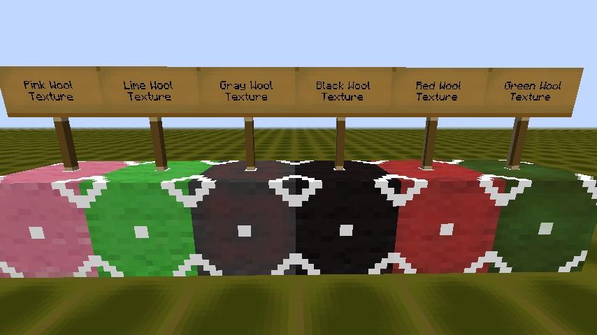 Pink Wool, Lime Wool, Gary Wool, Black Wool, Red Wool, Green Wool