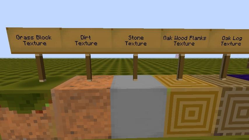 Grass, Dirt, Stone, Oak Planks, Oak Log