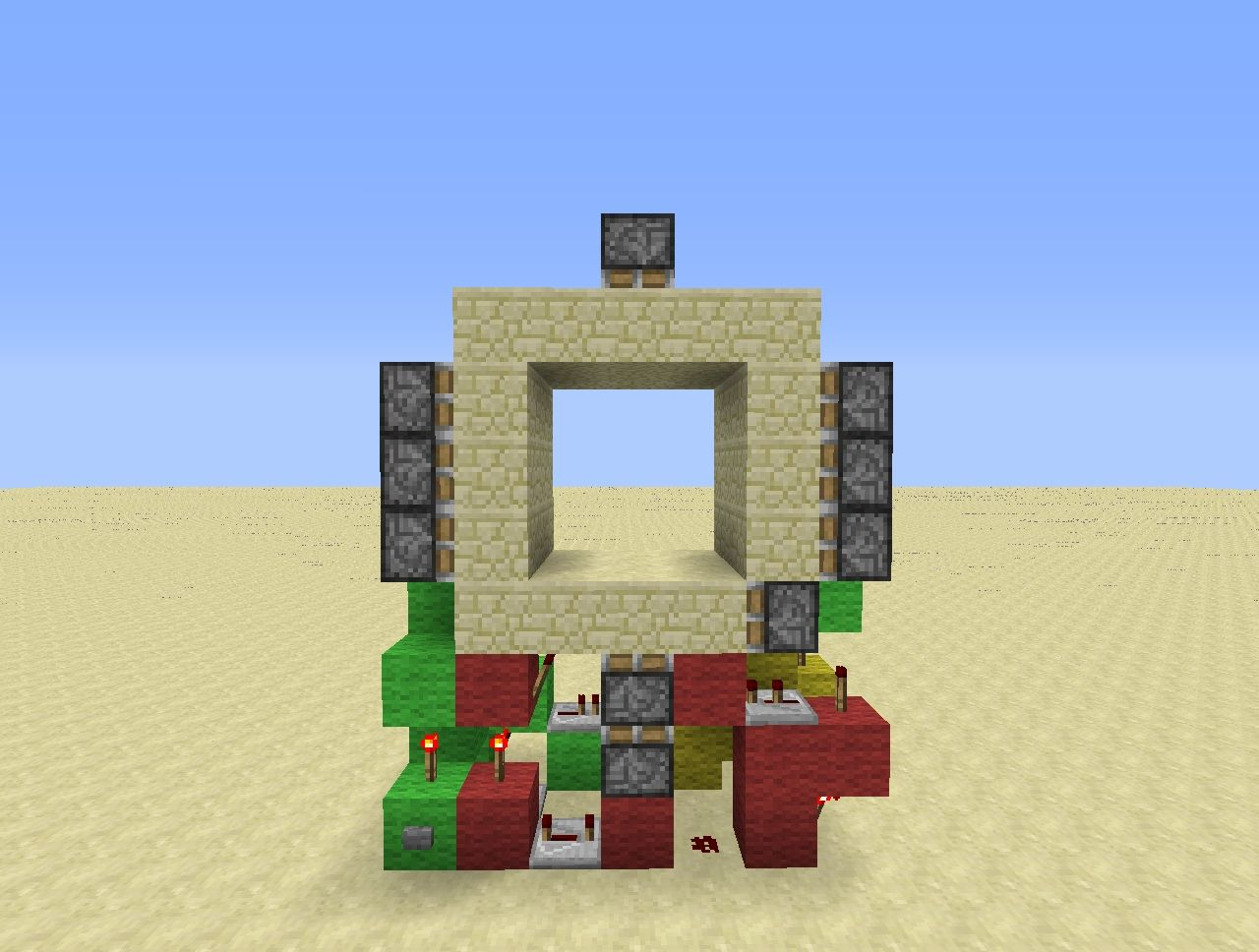 Minecraft super compact 3x3 piston door tutorial 3x7 for Porte 3x3 minecraft