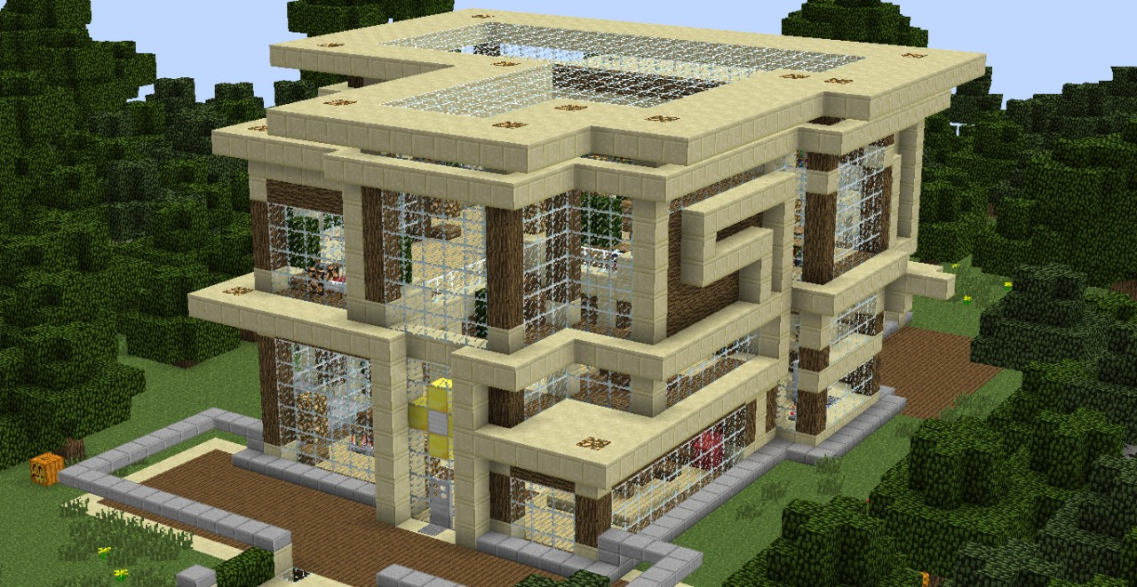 Modern sandstone and wood villa minecraft project - Minecraft villa ...