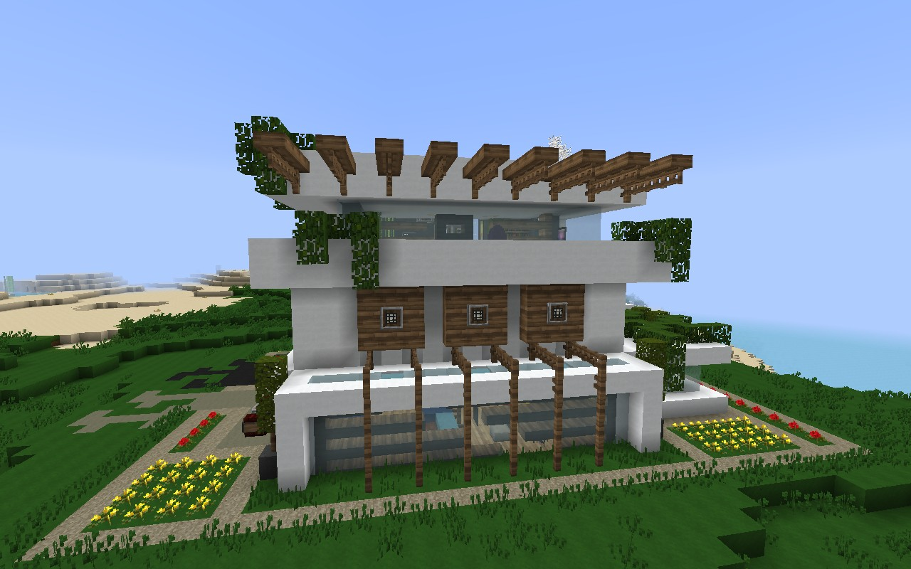 How to build a modern house in minecraft pe 0 13 house for Modern house minecraft pe