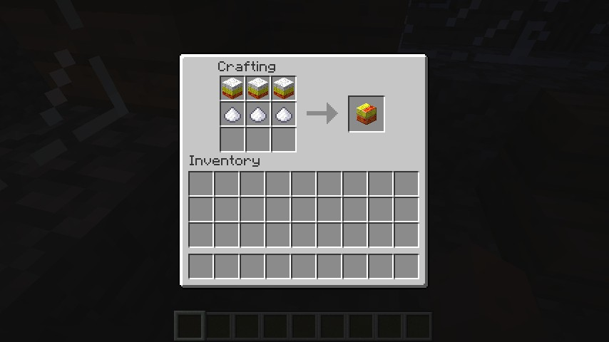 Recipe for the full Candy Corn Slab (Double Slab Block)