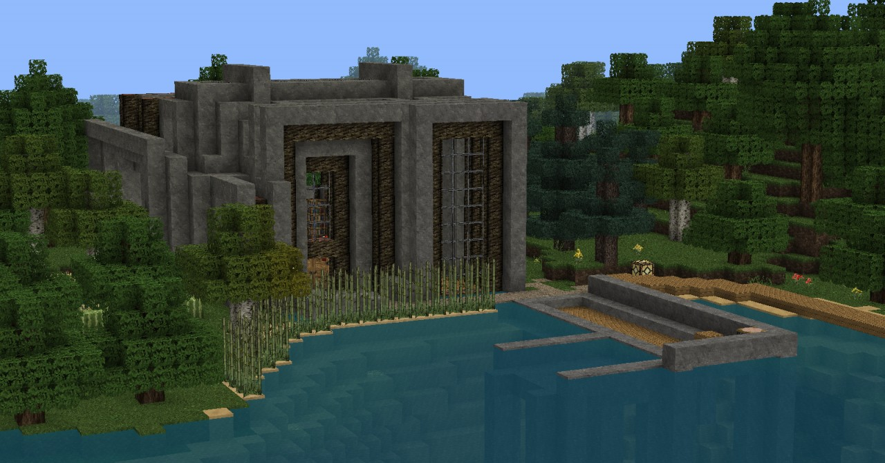 Stone-wood modern house Minecraft Project