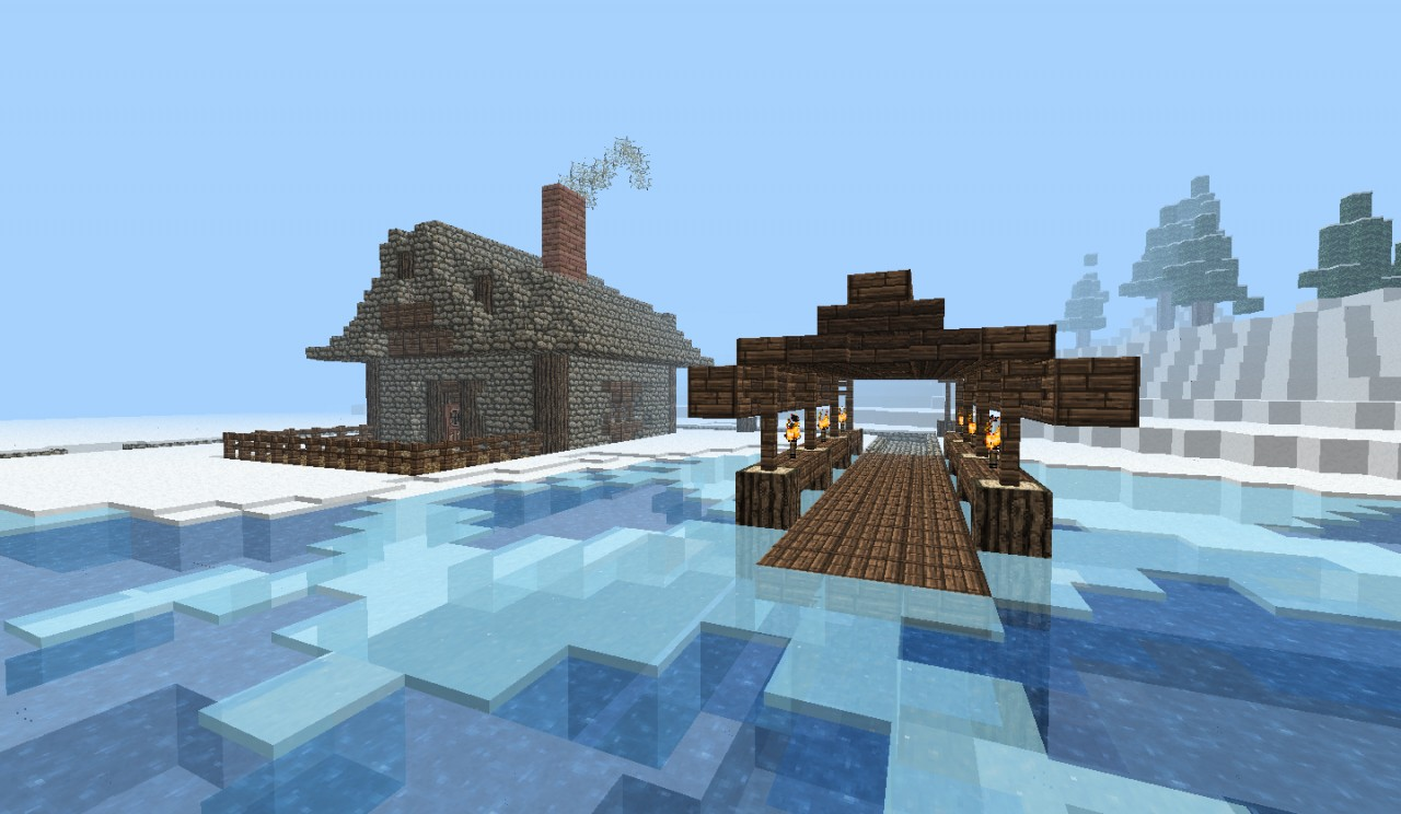 Small House With Boat Port Minecraft Project