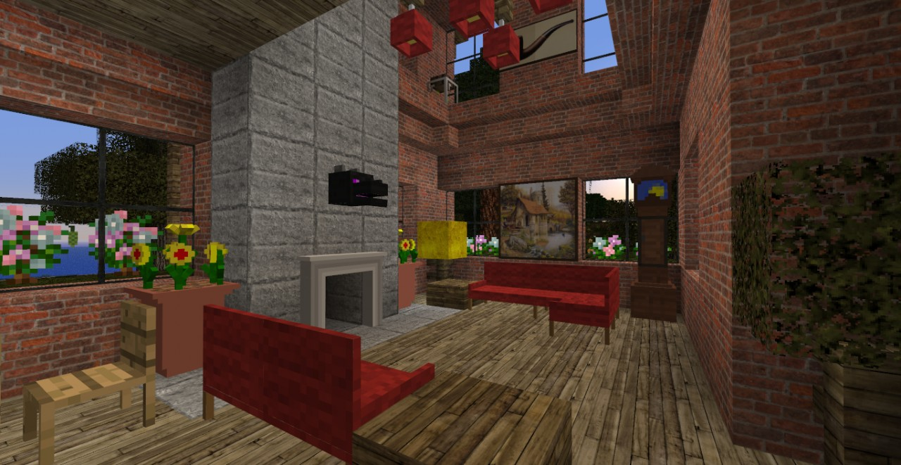 minecraft small brick house design - house interior