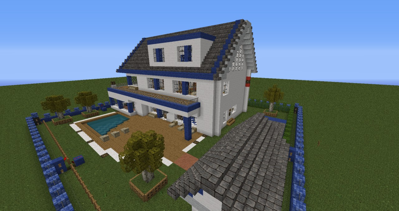 Moderne villa mit alarmanlage minecraft project for Minecraft haus bauen modern deutsch