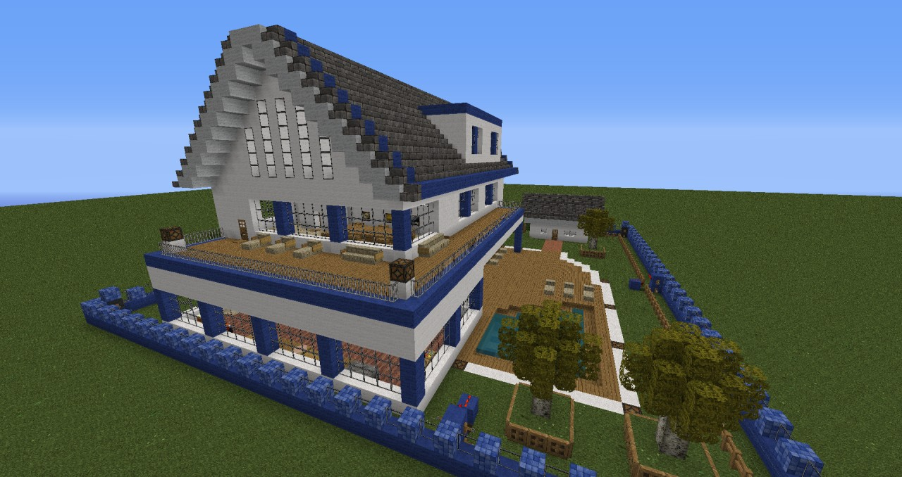 Moderne villa mit alarmanlage minecraft project for Modernes haus minecraft