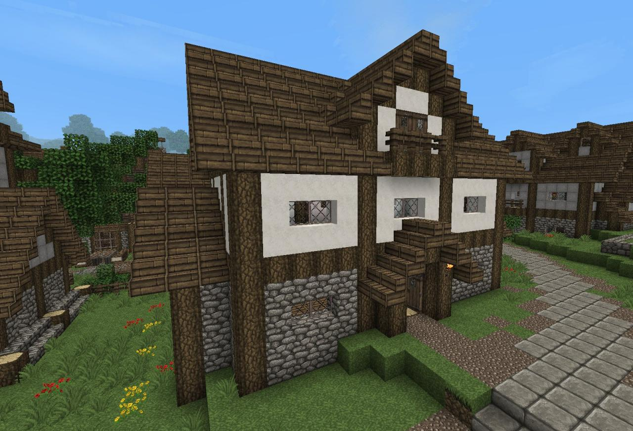 Medieval house with tutorial minecraft project for Village home designs