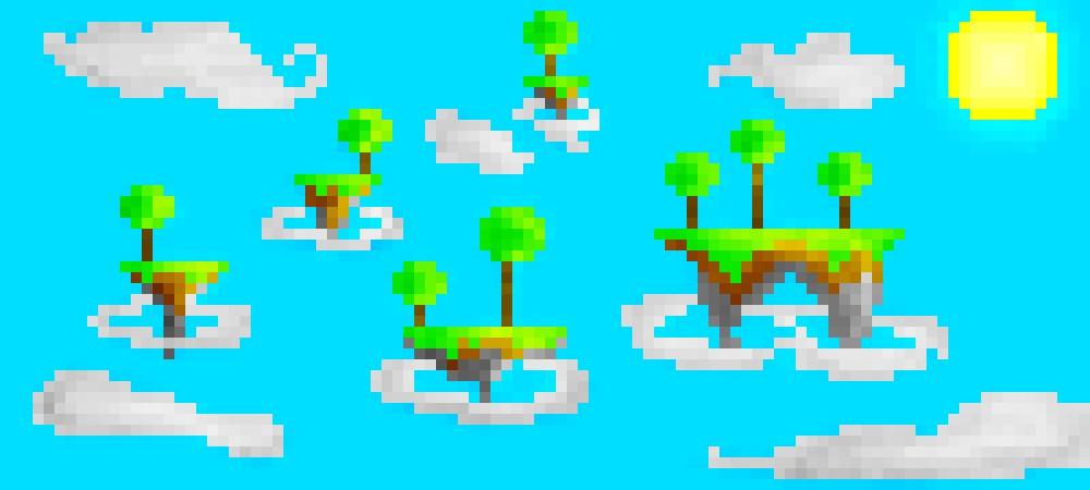 Floating Islands Pixel Art Minecraft Blog