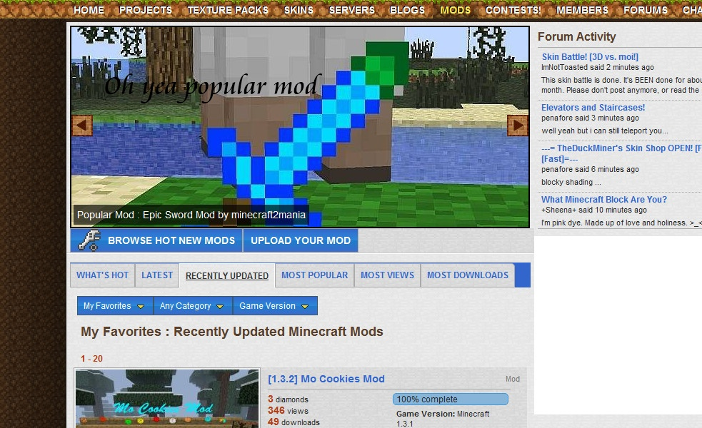 Mod details 2 update logs