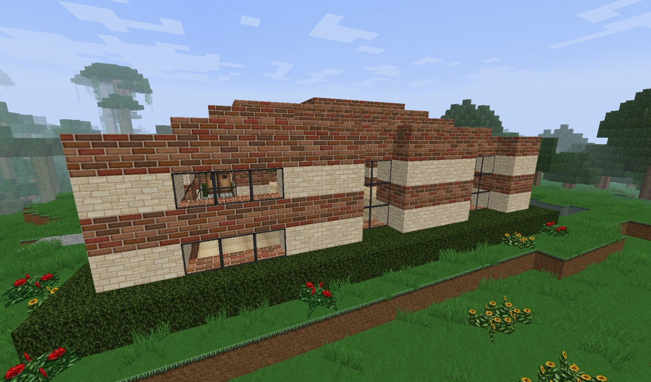 Small simple brick house minecraft project for Minimalist house minecraft