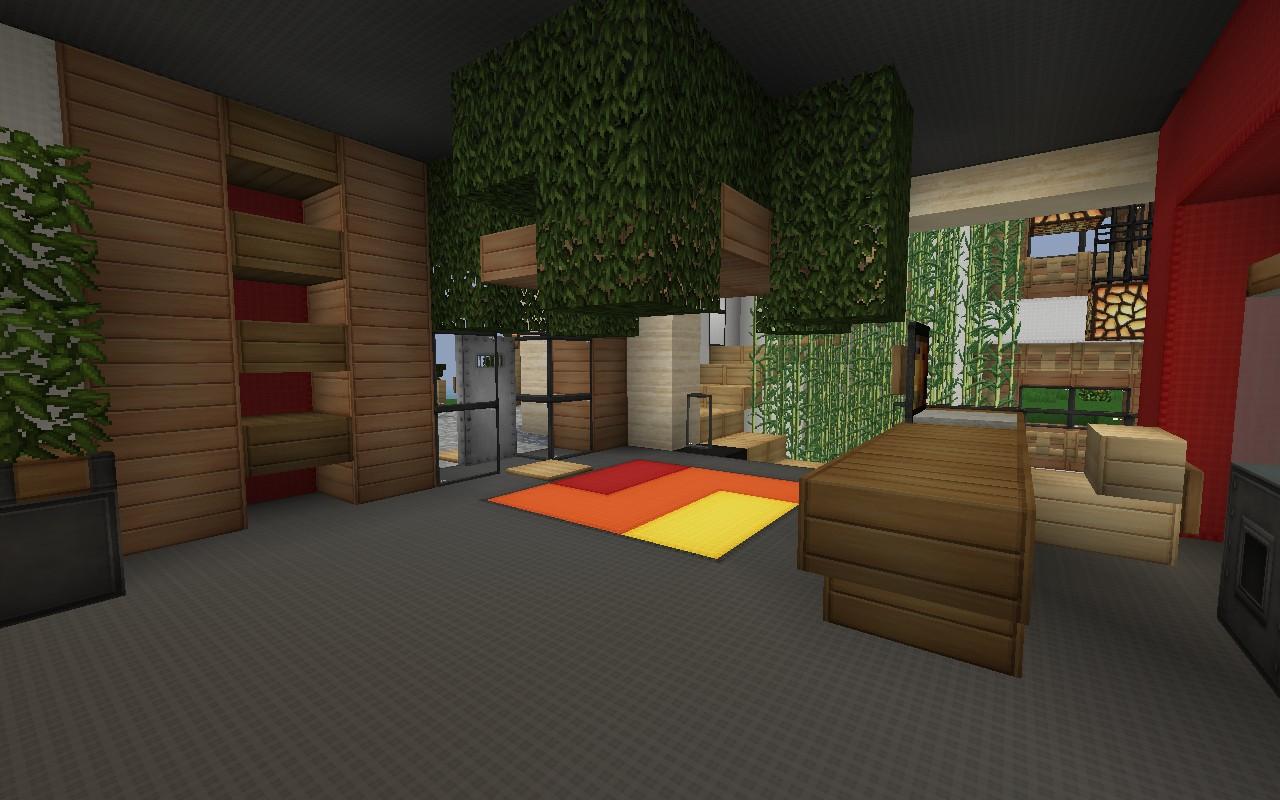 Entrance area; includes reception desk and storage shelves