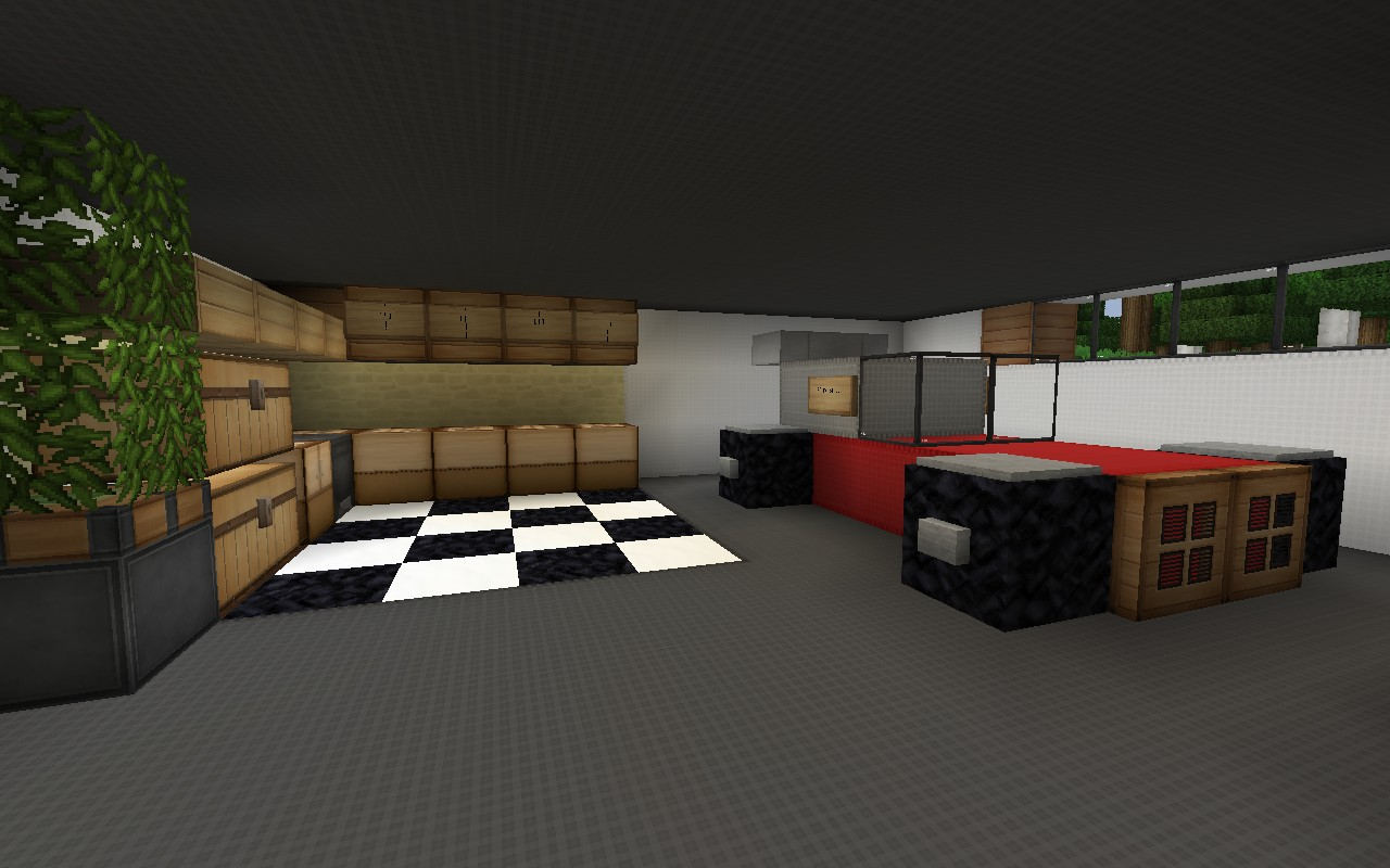Two car garage with workspace