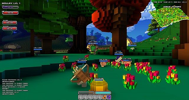 "A screenshot from the ""actual"" cube world game"