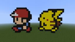 Ash & Pikachu Pixel Art Minecraft Map & Project