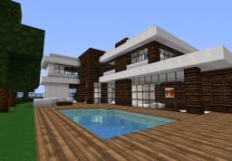 modern wood/wool house Minecraft