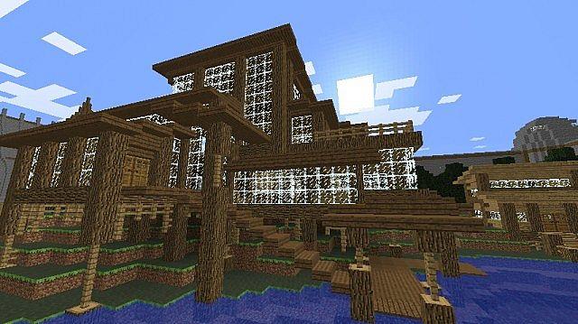 Wood beach house masterinkblot minecraft project for Beach house designs minecraft