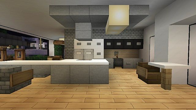 Minecraft indoors interior design beautiful kitchen for Kitchen ideas minecraft