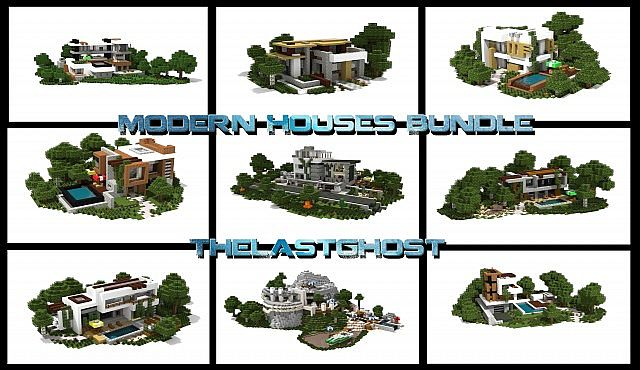 . Modern Houses Bundle  10 Houses  1 5 1 ready  Minecraft Project