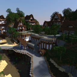Player town of SolarOnline RPG/ruvival server! (rendere) Minecraft