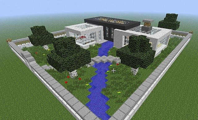 modern house with garden minecraft project