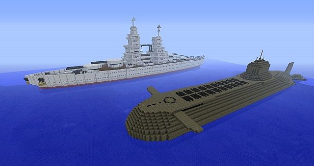 Battleship with Typhoon class submarine