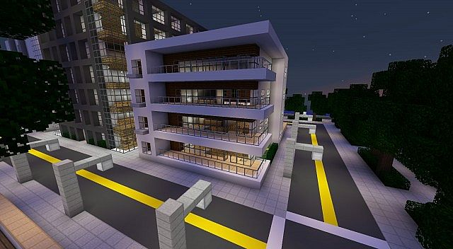 Minecraft Modern Apartment Building modern apartment build 3 - on greenfield minecraft project