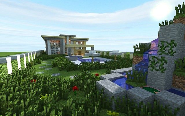 Modern house 3 world save and schematic minecraft project for Minecraft big modern house schematic
