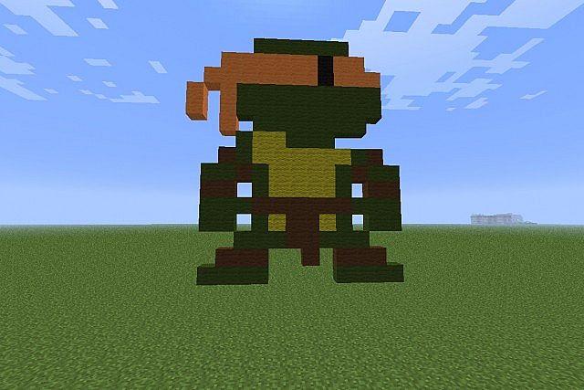 Ninga Turtle Orange Pixel Art Minecraft Project