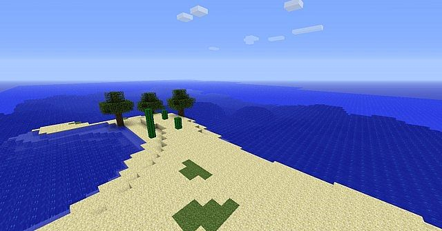 The Beach now has got cacti (Sorry that thing with the blocks is bug) and has trees