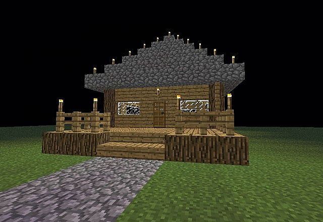Oak wood house with planks minecraft project