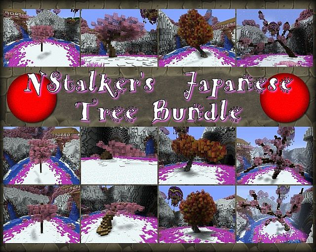 japanese tree schematic bundle 12 designs different sizes and types minecraft project - Minecraft Japanese Tree