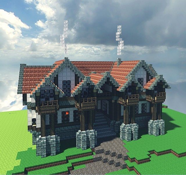 Medieval inn minecraft project for How to build a house in a mountain