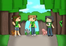 Drawing of mUSICkAT, mUSICdOG and Alin Minecraft
